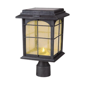 Solar Outdoor Post Lantern Hand-Painted Sanded Iron with Seedy Glass Shade