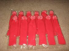 12 NEW RED RETRO LOOK KNIT GOLF CLUB COVERS POMPOM CRAFT SOCK PUPPET TUBES