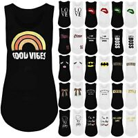 Womens Ladies Sleeveless Slogan Print Baggy Fitness Sports Gym T-Shirt Vest Top