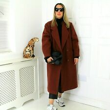Vtg 90s Wool Tobacco Rust Oversized Blogger Chic Cocoon Car Coat Pockets 14