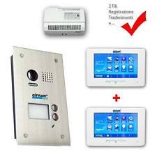 "Kit videocitofono 2 fili pulsantiera 2 monitor 7"" touch Videocitofoni interfono"