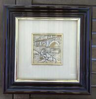"""Quadretto in cornice con bassorilievo in argento """"Pescatore con rete"""" 20 x 20 cm"""