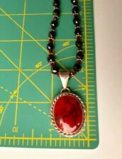 Mexico 925 Sterling Silver Red Carnelian Oval Pendant on Glass Beaded Necklace