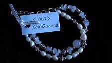Rose Quartz Crystal Natural Gemstone 2 Strand Clip Bracelet Love Ideal Gift