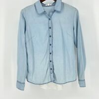 MAURICES WOMEN'S BLUE DENIM CHAMBRAY BUTTON UP LONG SLEEVE LYOCELL SHIRT SIZE M