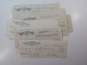54 Antique Checks 1800s Buffalo Commercial Bank Holland New York Paper Money Lot