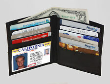 BLACK Soft Leather Hipster Wallet Bifold Wallet 8+ ID Credit Cards FREE SHIP