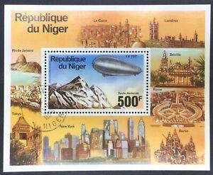 Niger C278 CTO Souvenir Sheet of Zeppelin Set NH OG1976