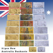 WR 21pcs New Australian Dollar Gold Silver Banknote $1-$100 AUD For Collection