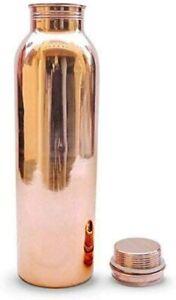 Plain Copper Bottle Pack of 1 - 1000ML ayurvedic joint free water bottle gift