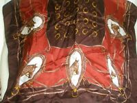 Vintage Ladies Scarf Horse Heads Horse Shoes