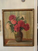 Oil Painting On Canvas Antique 19 Century Still Life Roses Flower Vase Signed