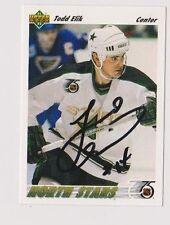 91/92 Upper Deck Todd Elik Minnesota North Stars Autographed Hockey Card