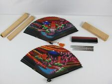 Vintage Hand Painted Hand Fans w/ Mother of Pearl Wood Hair Sticks Chopsticks