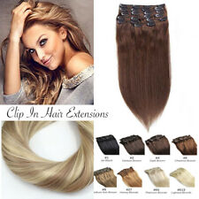 Extension Cheveux a Clips Naturel Maxi Volume Full Head Remy Human Hair Lisse FR