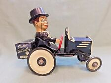 """VINTAGE MARX TIN LITHO """"CHARLIE McCARTHY"""" DRIVING CAR WIND UP SPINNING HEAD TOY"""