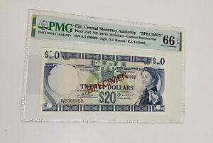 FIJI 20 DOLLARS LOVELY QUEEN ELIZABETH II PMG 67 EPQ GEM UNC