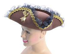 Tricorn Hat, Brown (Pirate Lady), Fancy Dress Hat, Accessory #AU