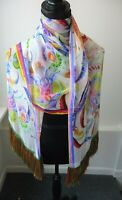 Etro NWT Multi Color Large Chiffon Silk Scarf Shawl Wrap Long Fringe Retail $675