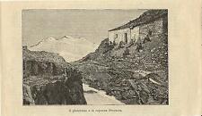 Stampa antica GHIACCIAIO e CAPANNA SCERSCEN Lanzada Sondrio 1890 Antique print