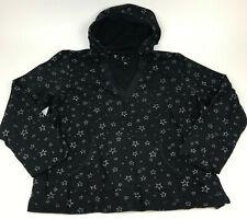 VENEZIA Lane Bryant BLACK Silver ALL OVER Star Print HOODIE Sweatshirt Sz 18/20