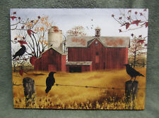Autumn Gold Red Barn Crows Canvas Wall Decor Picture Billy Jacobs