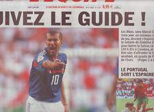journal  l'equipe 21/06/2004  FOOTBALL EURO 2004  ZIDANE PORTUGAL ESPAGNE