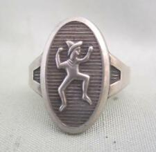 "VINTAGE RETRO STERLING SILVER BROWNIE GIRL SCOUT ADJ RING - SIGNED ""r"""