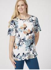 Kim & Co Brazil Knit Elbow Length Fluted Sleeve Printed Tunic  Ecru Mullti S