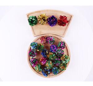 """12Pcs Sparkle Glitter Tinsel Poms Balls 2"""" Colorful Toys Bag Catnip Cats Kittens"""
