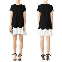 Shoshanna Dania Shift Dress Scalloped Hem Colorblock Black Size 4