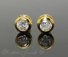 18CT YELLOW GOLD PL BEZEL SET 4CT SIMULATED DIAMOND MENS WOMENS STUD EARRINGS