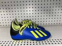 Adidas X 18.4 FG Boys Toddler Youth Soccer Cleats Size 11K Blue Neon Green Black
