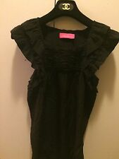 Pookie and Sebastian Solid Black 100% Silk Casual Sleevless Top Sz S