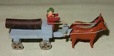 Miniatur Pferdegespann Holz Transport Holzspielzeug Seiffen Erzgebirge alt 1930