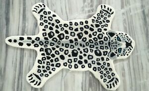 White Baby Leopard Wall Hanging Rug Animal Theme Luxury Carpet 2x3 ft DN-2116