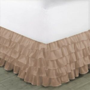 """1PC MODERN SOLID DUST MULTILAYERED BED DRESSING BEDDING SKIRT 18"""" DROP GYPSY"""