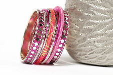 Women's Fashion Diamond Mirror Bollywood  Bangles Bracelets Fuchsia/Multi