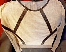 Love, Zooey Sweatshirt Top Gray Faux Leather Black Trim Large
