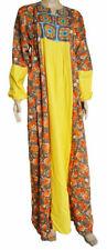 Small YellowEgyptian Cotton Abaya Dress Long Galabeya Floral Tatreez Embroidery