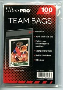 1 Pack of 100 Ultra Pro Resealable Team Bags NEW! holds team sets or toploaders