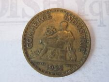 1922 ONE 1 FRANC! Vintage FRANCE coin: COMMERCE INDUSTRIE bronze:         IS293