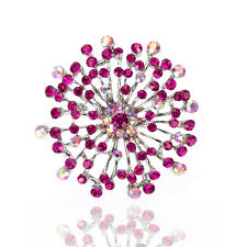 Vintage Style Rose Pink Rhinestones Flower Shaped Evening Brooch Pin BR355