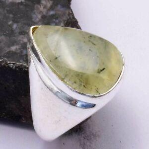 Prehnite Ethnic Handmade Men's Ring Jewelry US Size-9.25 AR 44092