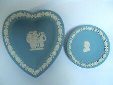 Wedgwood Jasperware Blu a Forma di Cuore Pin Piatto & Busto Josiah Wedgwood PIN piatto