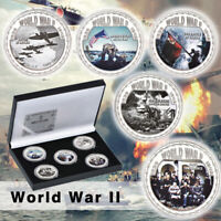 WR 5pcs World War ii Silver Commemorative Coin Anniversary Souvenir W Box
