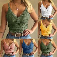 Sexy Women Crochet Floral Lace Crop Top V Neck Camisole Bra Bralette Summer Tank
