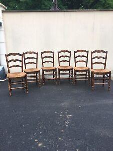 lot de 6 chaises anciennes paille et bois