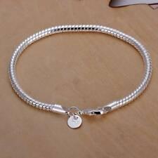 Wholesale 925 Sterling Silver 3MM Snake Bracelet Chain Men Women Fashion Jewelry