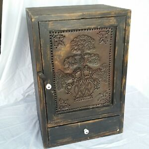 """Vintage Wood Jelly Cabinet - Black - 21.25"""" h x 11"""" d x 14"""" w - Punched Tin Door"""